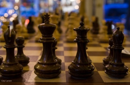 Close-up of the black side of chess