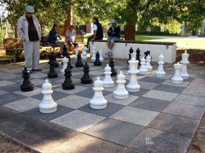 giant chess set in a park