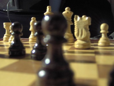 part of a chess position, close-up